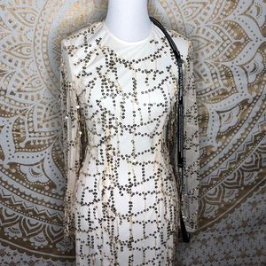 Ivory & gold sequin dress